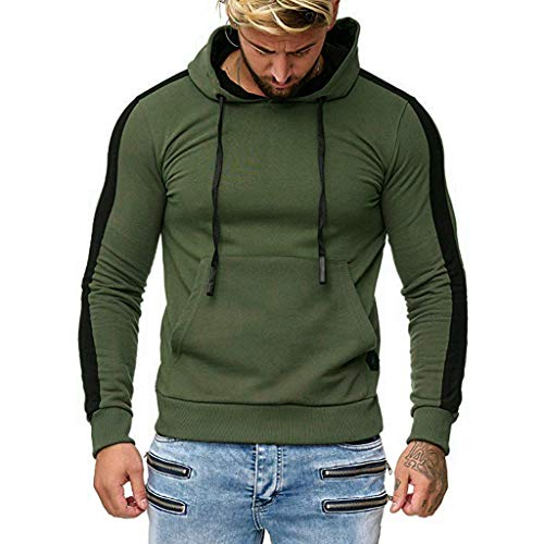 B-COMMERCE Herren Kapuzenpullover Einfarbig Streifen Hoodie Freizeit Pullover Slim Fit mit vorderer Tasche Kängurutasche