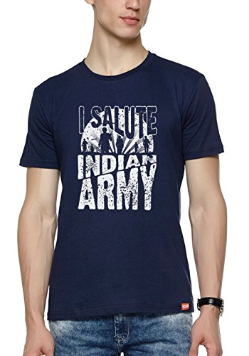 WYO Mens Graphic Printed T-Shirt ( I Salute,Navy,Large )