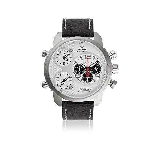 DETOMASO CASABONA XXL Herren-Armbanduhr Chronograph Analog Quarz schwarzes Lederarmband Edelstahlgehäuse - Jetzt mit 5 Jahre Herstellergarantie (Zifferblatt - Weiß)