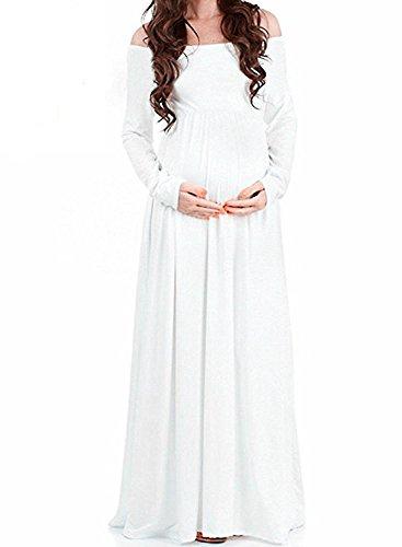 Damen einfarbig langärmelige Wort Schulter Revers hohe Taille schwangere Damen wischen zum langen Rock Weiß