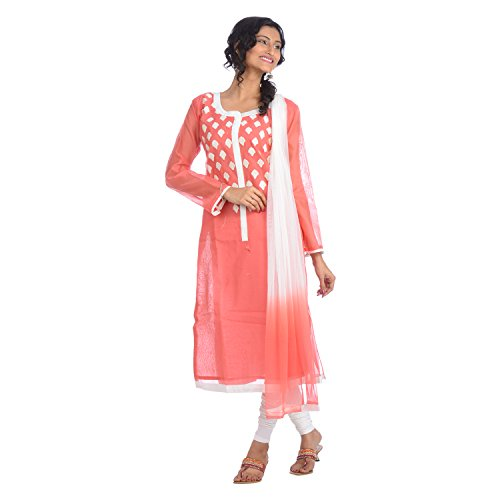 Miss Unique Women Silk Salwar Suit Set (2273 _Peach _40)