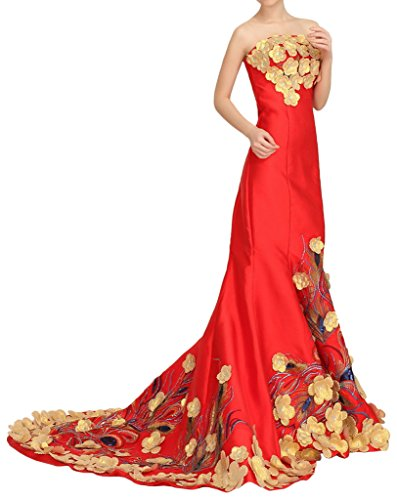 Eyekepper Frauen-traegerlos Nixe-Intarsia Stickerei Abendkleid Rot