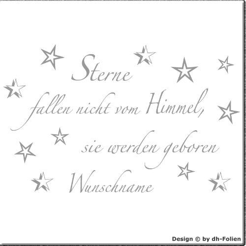 wall-refine WN-00363   STERNE FALLEN NICHT VOM HIMMEL ( WUNSCHNAME )   Premium Wandtattoo der Extra-Klasse , 90 x 57 cm , silber oder 33 weiteren Farben und 3 Grössen erhältlich , seidenmatter Glanz VERSANDKOSTENFREI