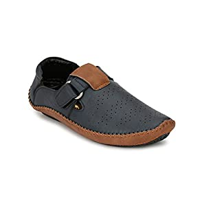 Big Fox New Blue & Tan Synthetic Leather Casual Sandals for Men