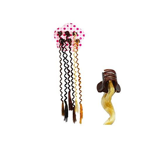 Lot de 6 pinces avec des mèches ondulées cheveux synthétiques
