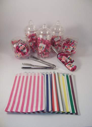 unststoff, x3, x5-Zange & x 12.70 cm, 50 Stück, gestreift (Menü Tüten 17.78 cm, Farbe: Sweet Pink, Blau, Lila, rot, grün, grau, schwarz, gelb), Candy Bar, für Hochzeiten Purple x50 Sweet Bags ()