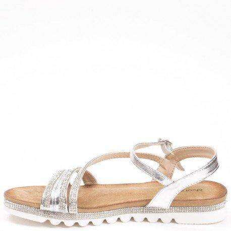 Ideal Shoes - Sandales plates avec brides incrustées de strass Suzie Argent