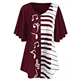 VEMOW Mode-Design Sommer Gnade Frauen Damen Bluse Musical Notes Print Tops Beiläufige Lose Kurzarm T-Shirt (Weinrot, EU-48/CN-XL)