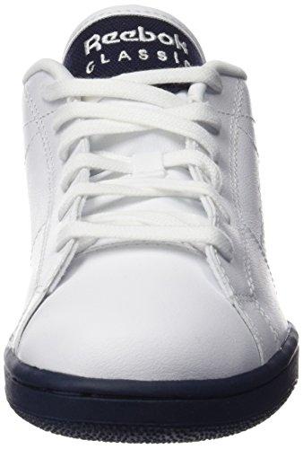 Reebok Npc Ii, Chaussures de Tennis Garçon Blanco / Azul (White/Navy/Pop)