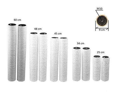 Armarkat - Sisalstämme mit 9 cm Durchmesser, Innengewinde M10, Natursisal 6 mm in diversen Längen für Kratzbaum (2 x 60 cm)