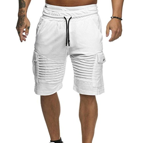 OSYARD Herren Shorts Badehose Breathable Beach Mid Zipper Surfende Sporthosen(3XL, Weiß)