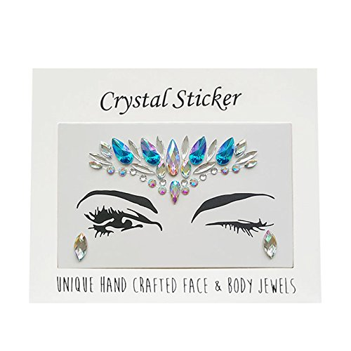 (oobest Face Jewels Stickers Tattoo Bady Eyes Decoration Mermaid Individuality Make-up Rhinestone Sticker for Party,Music Festival,Shows)