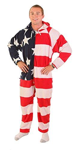 Forever Lazy - Schlafanzug für Erwachsene, Unisex, Einteiler, Onesie, ohne Füße Gr. Large, Stars and Stripes