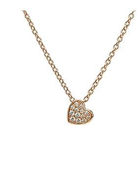 Eye Candy Damen-Halskette Collier 925 Sterling Silber Rosegold vergoldet Anhänger Herz mit 13 weißen Zirkonia...