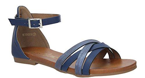 Flache Damen Sandalen Strass Sandaletten - Sommer Neuheit - Komfortabel Modisch Strand Schuhe - Casual Baseschuhe Mode Elegant - Marineblau - Lilianna - EUR 38