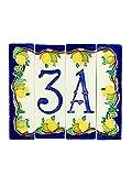 Hausnummern aus Keramik, Hausnummer Zitronen, Dübel Keramik NL 3.Dim: Höhe 15cm, Breite insgesamt 17,6cm