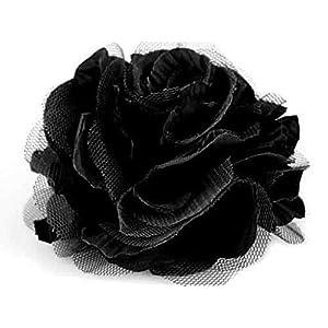 schwarze Tüll Stoffrosen Brosche 9 cm Haarschmuck Deko Hochzeit