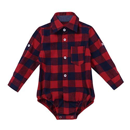 YiZYiF Hemdbody Oberhemd für Jungen kariert Baby Langarm Hemd Body Frühling Herbst Strampler Overall Trachtenhemd Rot 80