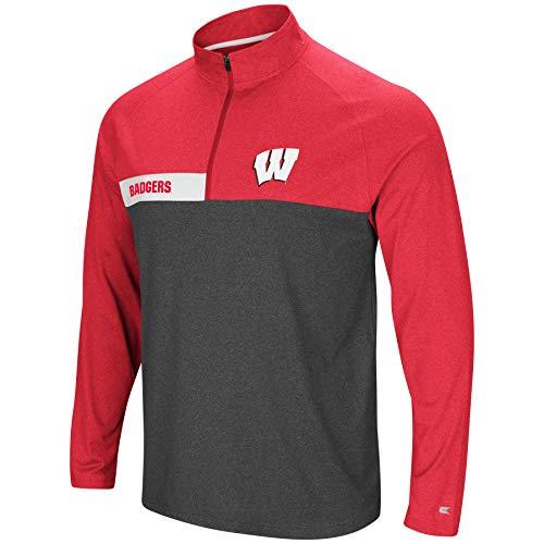 Colosseum Herren NCAA-no mercy-1/4Zip Pullover Windshirt, Herren, Wisconsin Badgers-Heather Cardinal, Large