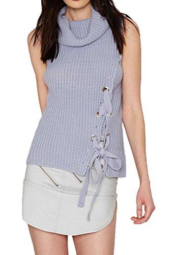 Smile YKK Veste Automne Femme Sweat-shirt Sans Manche Sweat Tricot Col Roulé Casual Mode Violet