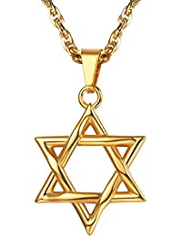 bdac22b347f PROSTEEL Collier Homme Étoile de David Chaîne et Pendentif Simple Bijoux  Religieux pour Garçon Joaillerie en
