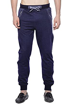 Maniac Men's Solid Cotton Track Pant (MEN-SS18-LOOP-KNIT-TRACK-PANT-NAVY-M, Black, Medium)