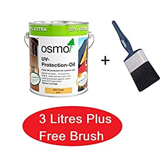 Osmo UV Protection Oil Extra 420 Clear Satin - 3L for the Price of 2.5L + FREE Draper Brush