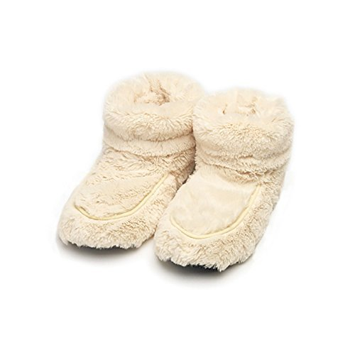 Furry Warmers Fully Microwavable Furry Boots Cream (Damen Mikrowellen Pantoffeln)