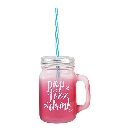 CGB Giftware Aloha Bocal de boire en verre avec poignée et paille 'Pop Fizz Boisson' Rose