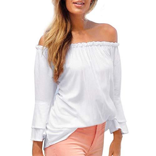 Beiläufiges elastisches Schulter-Aufflackern-Hülsen-Bluse der T-Shirt
