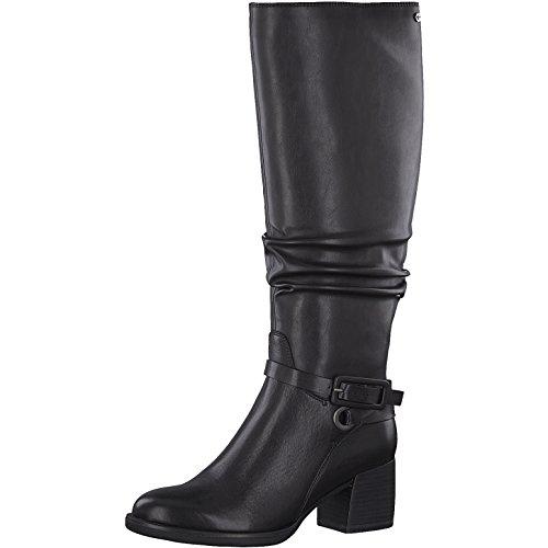 Tamaris Damen Stiefel 25563-31,Frauen Boots,Lederstiefel,Reißverschluss,Blockabsatz 6cm,Black,EU 39