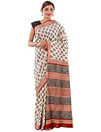 Bagru Saree , Traditional Saree From Hand Block Printed | Black Beige Maroon Saree-Sari Chanderi Cotton Sarees