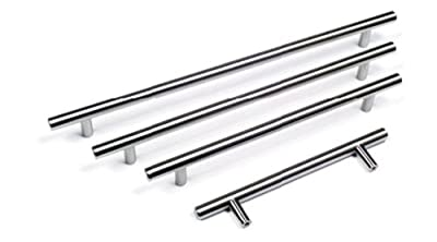 Solid Metal CHROME Colour T Bar Kitchen Door Handles - 10 Different Sizes