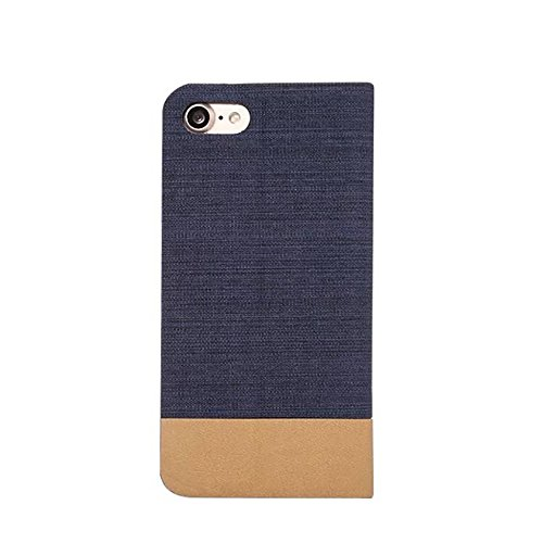 Mischfarben Jeans Stoff Textur PU Ledertasche Soft TPU Zurück mit Kickstand und Card Slot für iPhone 7 Plus ( Color : Darbrown ) Darkblue