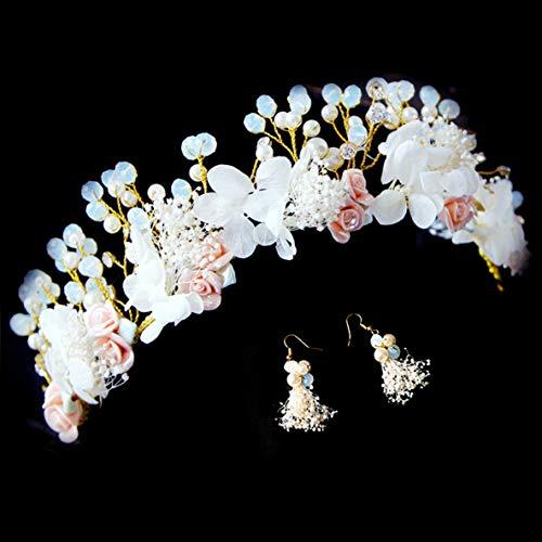 Noradtjcca Handgemachte Girlande Blume Ohrringe Krone Hochzeit Garland Stirnband Braut Kopfschmuck Super Cent Fotografie Zubehör (Niedlich, Einfache Halloween Augen Make-up)