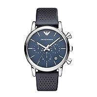 Emporio Armani AR1736 - Reloj de cuarzo con correa de cuero para hombre, color azul / negro de EMQCL