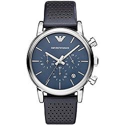 Emporio Armani AR1736 - Reloj de cuarzo con correa de cuero para hombre, color azul/negro