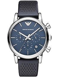 Emporio Armani AR1736 - Reloj de cuarzo con correa de cuero para hombre, color azul / negro