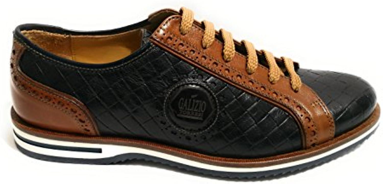 GALIZIO TORRESI Zapatos de Cordones de Piel Para Hombre Blu/Marrone -