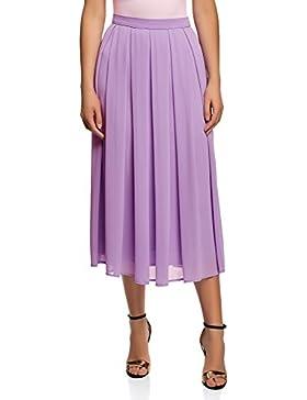 oodji Collection Mujer Falda con Pliegues de Tejido Fluido