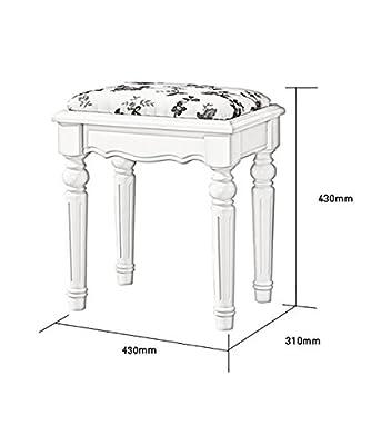WUFENG Multifunktions-Natur-Gummi-Holz-Viereck-Dressing-Tisch-Hocker mit Stoff-Sitz, weiß, 43 * 31 * 43cm von WUFENG bei Gartenmöbel von Du und Dein Garten
