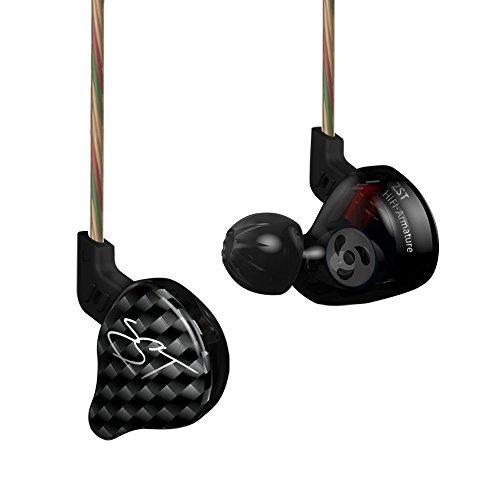 fizbest Neueste KZ ZSt rohrleitungsarmatur Dual Treiber Kopfhörer Abnehmbare Kabel in-Ear Audio Monitore geräuschisolierend HiFi Musik Sport In-Ear Without Mic Black Version