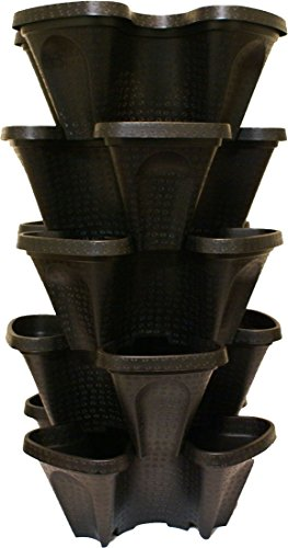 Groß 5 Etagen Vertical Garden Tower - 5 Schwarz Hydrokultur-stapelbar und aquaponic Pflanztöpfe (24 Quart Tower - 12 x 12 x 28) 24 Quart Pot