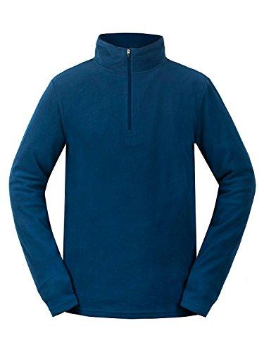 aparso Herren Skirolli Fleece Pullover mit Reißverschluß-Stehkragen Atmungsaktiv (M, Blau) - Polyester-microfleece Half Zip Pullover