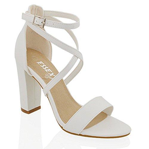 ESSEX GLAM Sandalo Donna Cinturino alla Caviglia Tacco a Blocco Fibbia Festa Bianco Pelle Sintetica