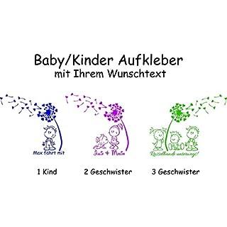 Baby/Kinder/Geschwister ***AUFKLEBER m. Pusteblume + Wunschtext*** - freie Motiv.- Schrift und Farbauswahl