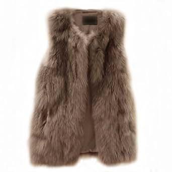 New Womens Black Faux Fur Leather Long Vest waistcoat grass Coat Jacket Grace