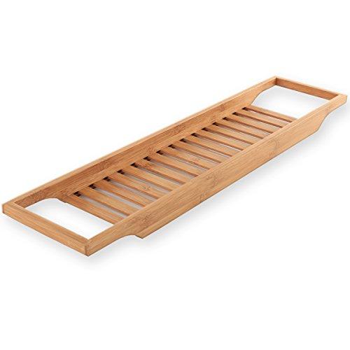 Torrex® 30541 mensola per vasca da bagno in bambù ripiano per vasca disponibile in 2 misure (64 x 15 x 3,5 cm)