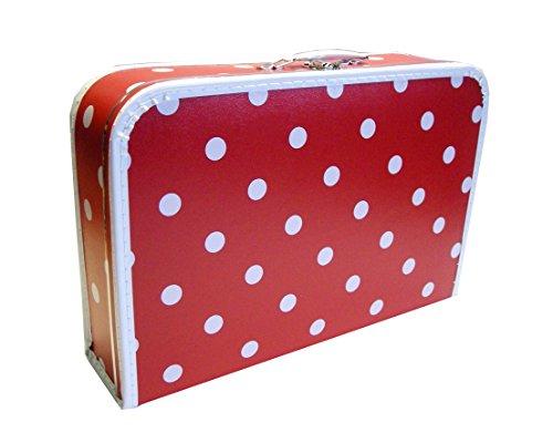 Kinderkoffer rot + große weiße Punkte 45 cm mit Trim