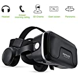 HAMSWAN VR Headsets, 3D Glasses, Virtual Reality Headsets with Built-in Headphones with 120 Degree FOV for iPhone X 8 7 6/6s plus, Samsung S6 S7 S8/Plus/Edge Note 8 [2019 Edition]